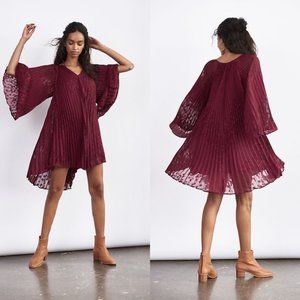 NWT Anthropologie Red Toulon Pleated Mini Dress